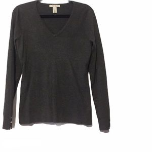 WHBM Grey V-Neck Pullover Sweater